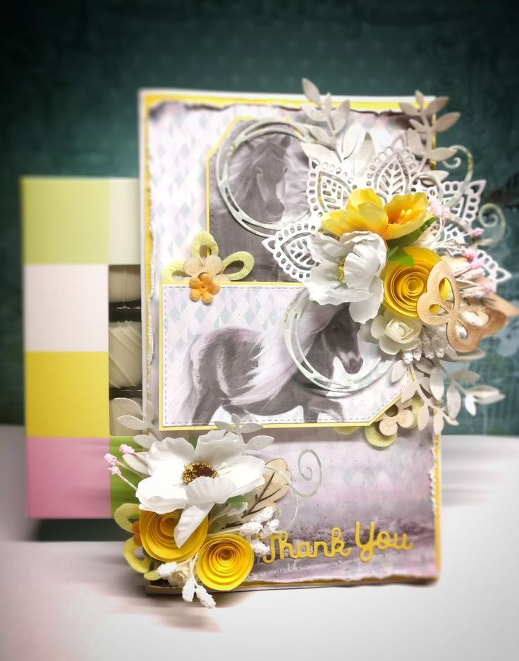 Quick scrapbooking card with lots of flowers embellishments, horses as a must element. Rolled up roses, wooden flowers and leaves, doily