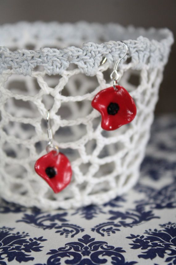 Polymeric Clay Poppies with pendant by BrielleMade on Etsy, $15.00