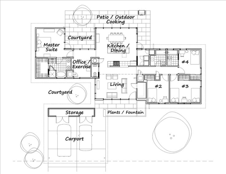 Mid Century Ranch style house plan -- Plan 460-3  1984 sq ft  4 beds 3.50 baths