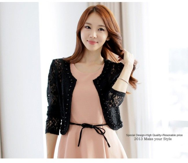 Ladies Fashion Long Sleeve Beads Hollow Lace Coat