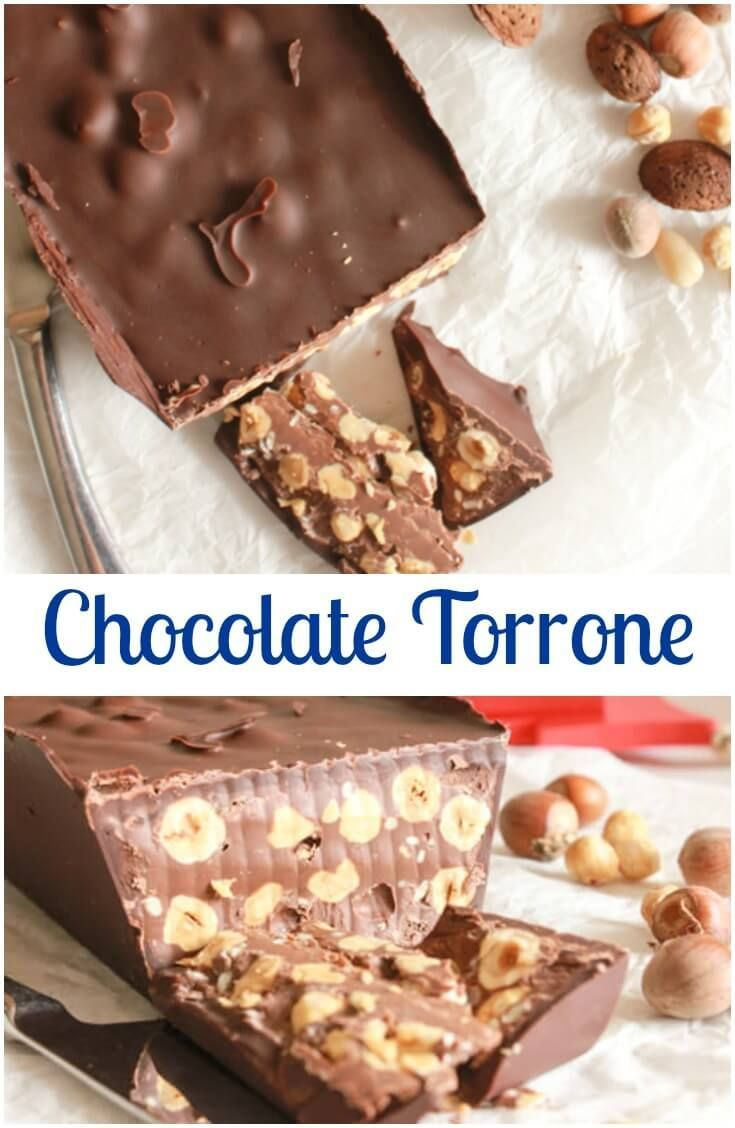 Chocolate Torrone, an easy Italian #Christmas #candy, creamy, decadent, chocolatey, and full of #hazelnuts. A delicious new #Christmas Tradition. via @https://it.pinterest.com/Italianinkitchn/
