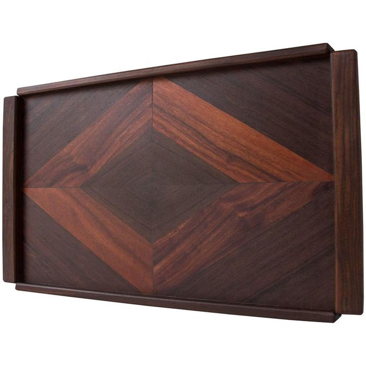 Rosewood Tray with Diamond Motif by Don Shoemaker for Señal | From a unique collection of antique and modern platters and serveware at https://www.1stdibs.com/furniture/dining-entertaining/platters-serveware/