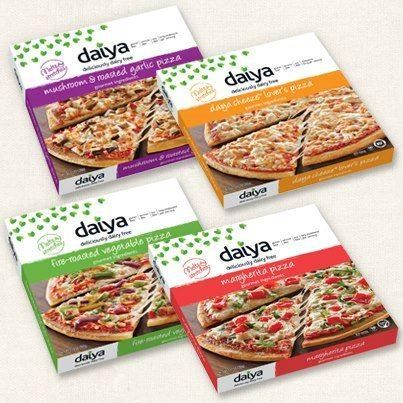 New from Daiya, dairy-free, soy-free, gluten-free pizzas in 4 flavors: Mushroom & Roasted Garlic, Daiya Cheese Lover's, Fire-Roasted Vegetable, and Margherita.  The pizzas will soon be added to their website so you can check the ingredient list for each flavor: http://www.daiyafoods.com/our-products