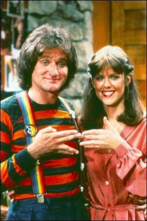 Mork and Mindy - nanu nanu - this show was hilarious.  RIP Robin Williams.
