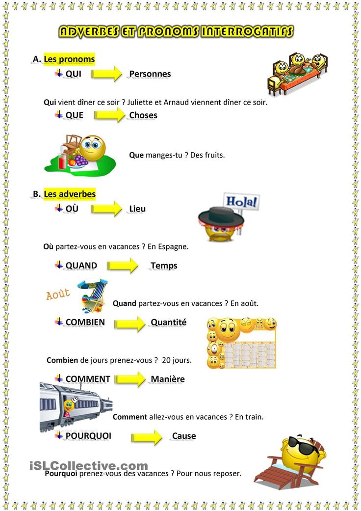 Adverbes et pronoms interrogatifs