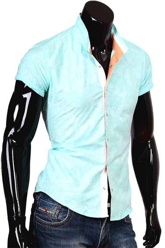 Купить Стильная рубашка с коротким рукавом мятного цвета фото недорого в Москве