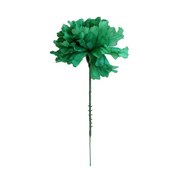 "CASE OF 100 Emerald Green Carnation Silk Flower Picks 3.5"" Bloom x 5"" Tall"