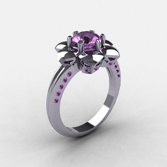 Morgan Would Love This 14k White Gold Lilac Amethyst Wedding Ring Engagement Nn102