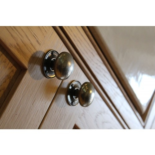 Pewter Kitchen Cupboard Knobs Fitted With PBP004 Base Roses