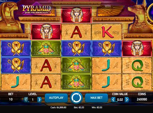 Maszyna hazardu Pyramid: Quest for Immortality - gry na prawdziwe pieniądze. Maszyny hazardowe online w egipskich przedmiotów są dość powszechne i wiele gracze nie zwracają uwagi do nowego maszyna hazardu poświęconej piramid i faraonów. Jednak Pyramid: Quest for Immortality automat do gier naprawdę warta uwagi, ponieważ wprowadził kilka innowacyjnych pomysłów, które sprawia