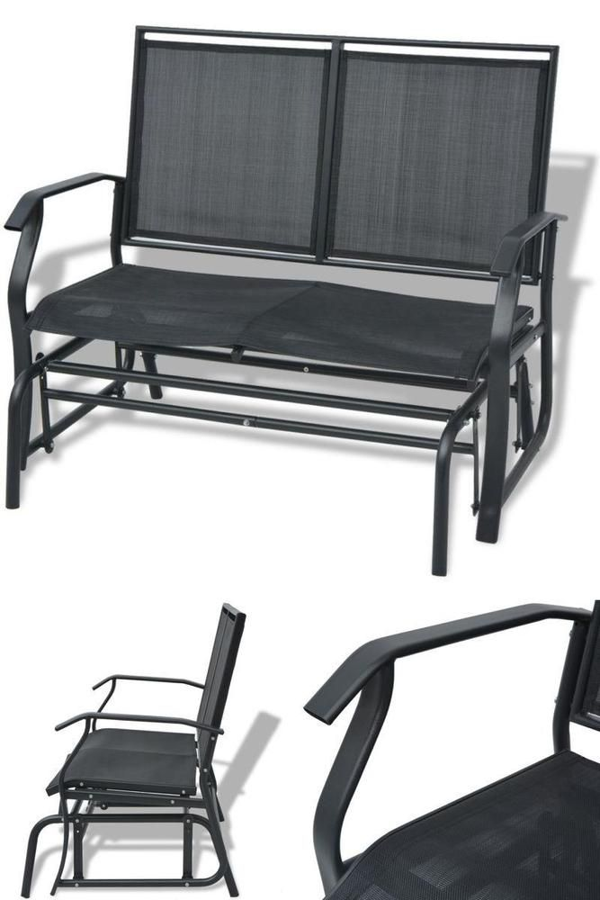 Stupendous Metal Garden Swing Bench Black Modern Outdoor 2 Seater Chair Alphanode Cool Chair Designs And Ideas Alphanodeonline