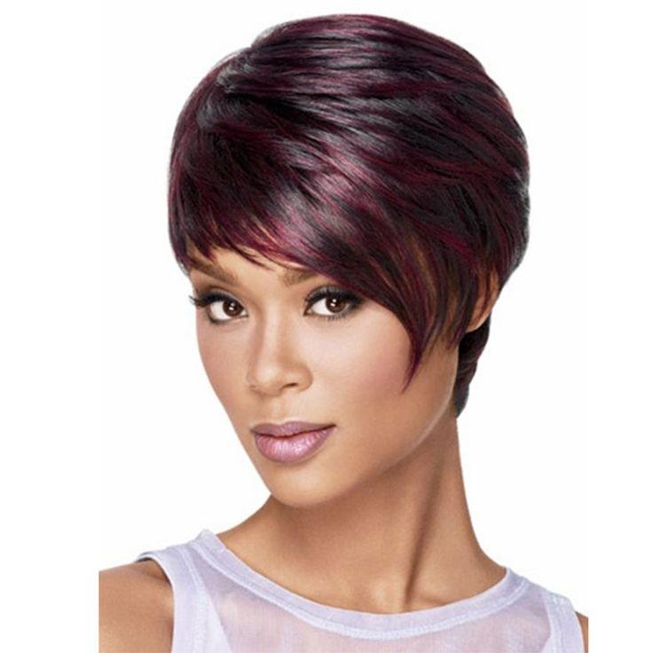 ナチュラル安い短い髪かつら黒人女性女性ピクシーカット赤いハイライト合成毛アフリカ系アメリカ人かつら
