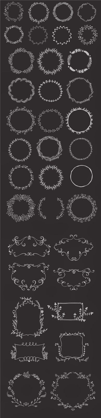 Hand drawn wreaths and frames | Freebies PSD