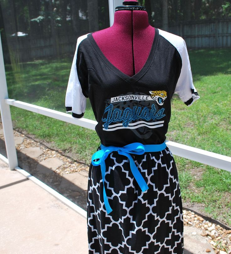 Jacksonville Jaguars Game Day Short Sleeve Dress with ribbon tie Upcycled Shirt Size Large Ready to ship by gamedaychicflorida on Etsy