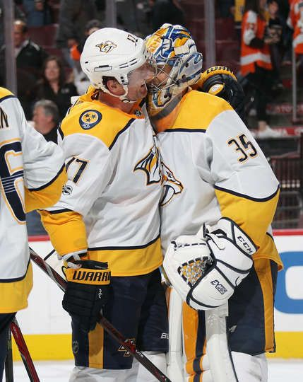 PHILADELPHIA, PA - OCTOBER 19: Scott Hartnell #17 and Pekka Rinne #35 of the Nashville Predators celebrate after defeating the Philadelphia Flyers 1-0 on October 19, 2017 at the Wells Fargo Center in Philadelphia, Pennsylvania. (Photo by Len Redkoles/NHLI via Getty Images)