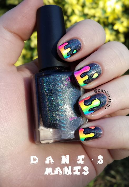 "'Melting Rainbow' nail art by Danis Manis!  |  ""Polish used: Colors by Llarowe – Beat It, various neon acrylic paints(plus white paint for the base drips and black to outline the finished product)"""