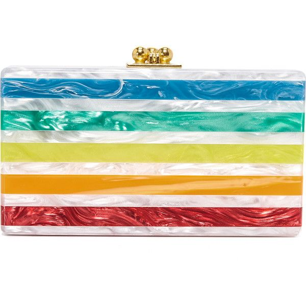 Edie Parker Jean Striped Clutch ($1,295) ❤ liked on Polyvore featuring bags, handbags, clutches, stripe handbag, stripe purse, striped purse, edie parker clutches and white purse