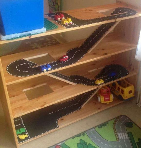 Toy car track shelf. - DIY Projects for Kids Inspired by Race Car Tracks