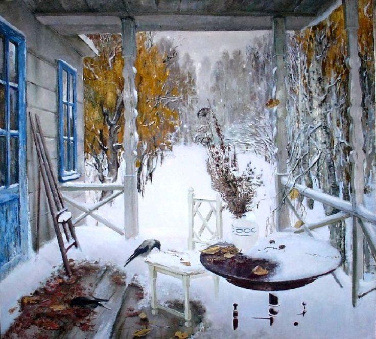 снег картина маслом за окном самом начале мужское