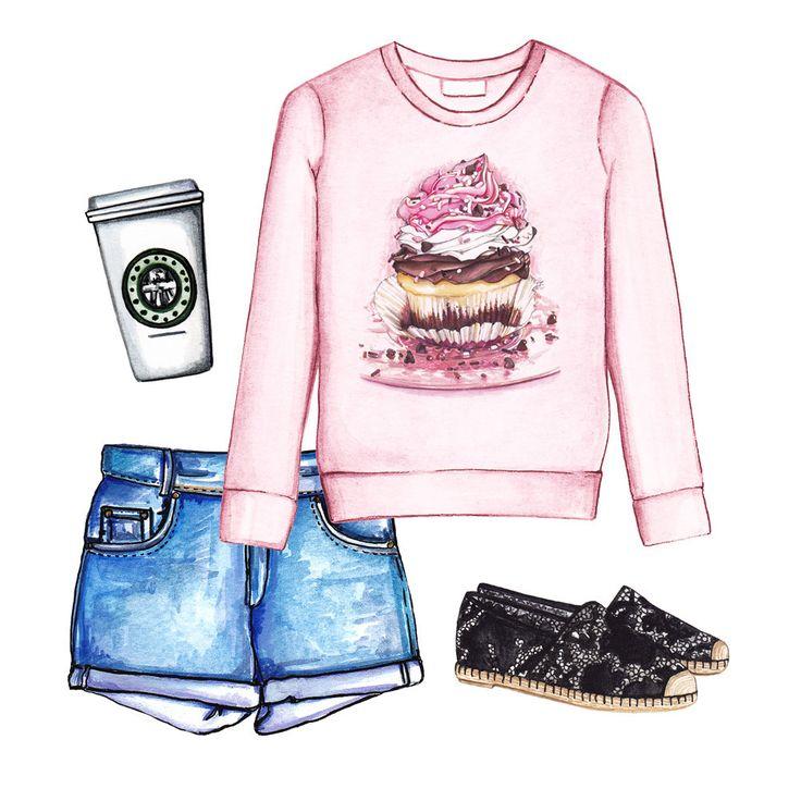 Summer outfit. Doll Memories sweatshirt, cut-offs and espadrilles