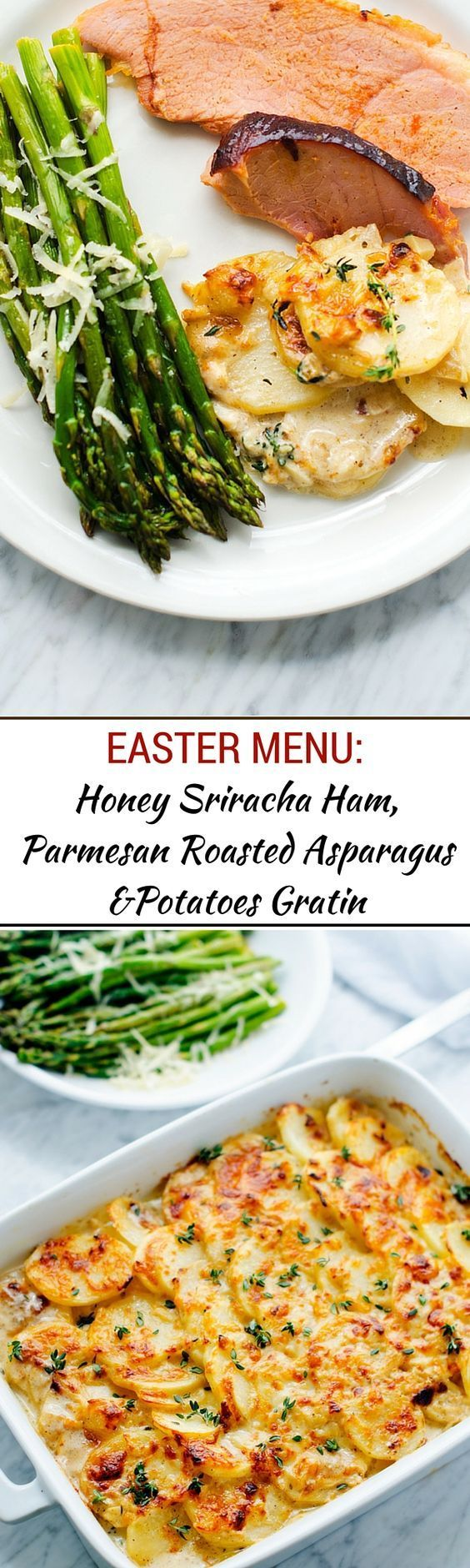 Our Easter Menu:  Honey Sriracha Ham, Goat Cheese Potatoes Gratin & Roasted Asparagus - - WendyPolisi.com - #sponsored #SnakeRiverFarms