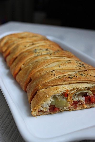 Calzone tressée aux légumes du sud et herbes de Provence {pizza tressée}