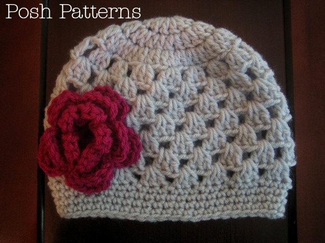 Crochet Hat Pattern Baby Cloche Beanie With Flower Pdf 123