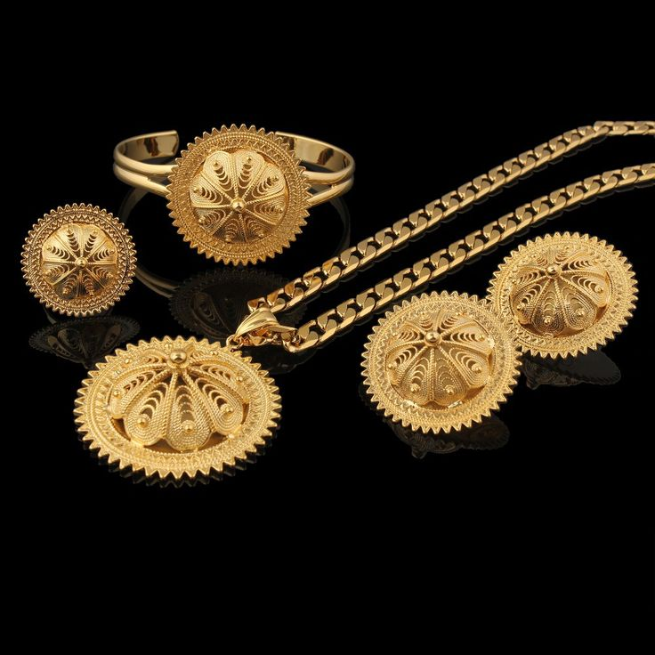 Vintage Ethiopian wedding jewelry sets earrings+ring+pendant+bangle Gold Filled bridal Jewelry sets