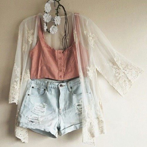 This here is a Dark Salmon color Crop Top with a see through cream colored cardigan with a light creamy color of floral design.   High-waisted torn light washed, blue jean shorts. A white flower crown, as for foot wear, you can where any color sandals at shoes between the colors of white, to cream, to light brown.   Enjoy