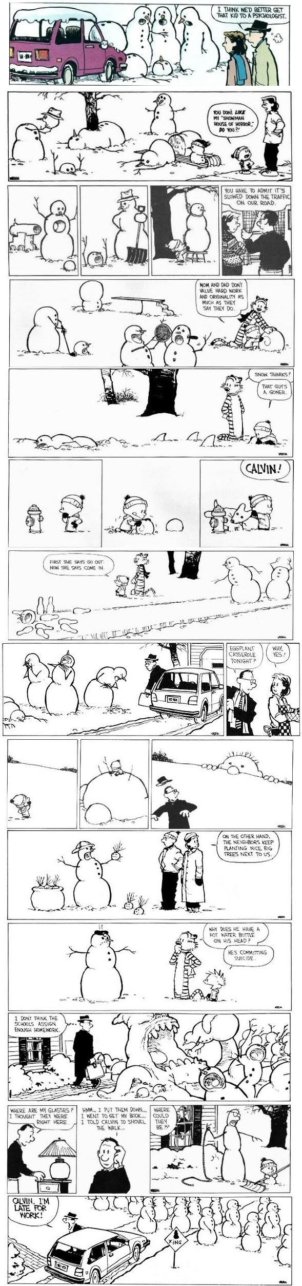 Calvin & Hobbes snowmen - this is hilarious - why didn't we think of this when we were kids???