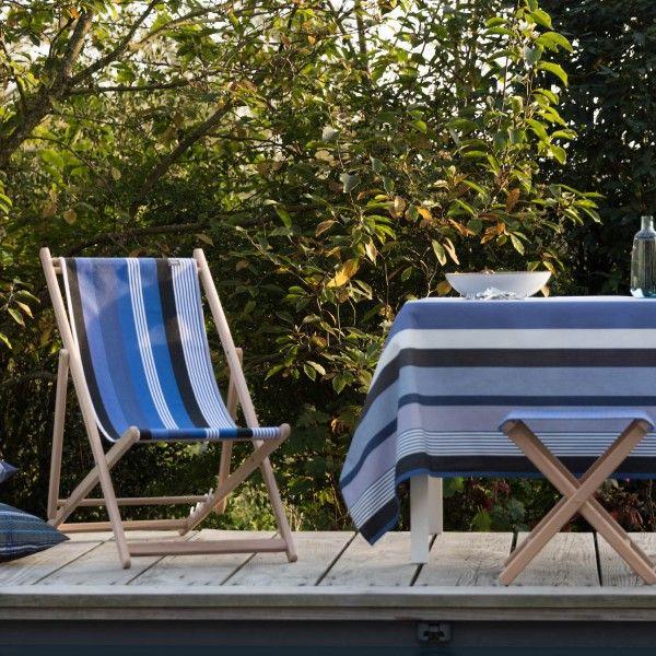 massief beukenhouten strandstoel frame en kruk van kleurmeester met canvas stof beaurivage #canvas #stof #strepen #diyhomedecor #doehetzelf