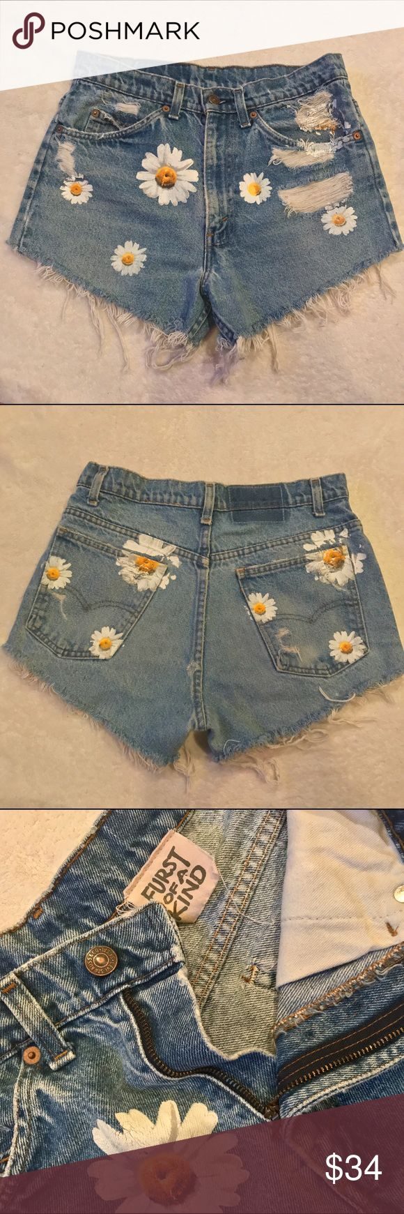 """LF high waisted Jean shorts Sun flower designed high waisted Jean shorts from LF. As shown the photo of the back of the shorts there is a minor hole (not noticeable when on) They are one size fits all, but i'm a 26 in jeans and shorts and these fit me. Measurements are: 29"""" waist, 38"""" hips, 23"""" thigh,inseam 3"""", front rise 12"""". They are perfect shorts for a festival like Coachella! LF Shorts Jean Shorts"""
