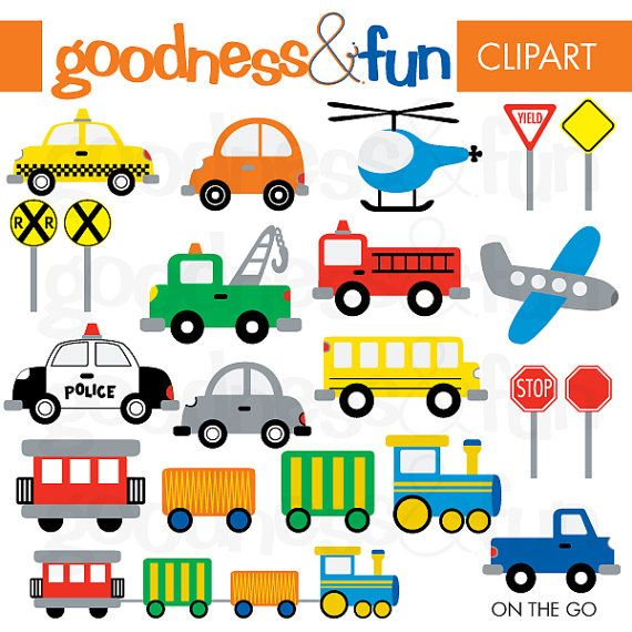 On The Go Transportation Clipart - Digital Transportation / Car/ Vehicle Clipart - Instant Download