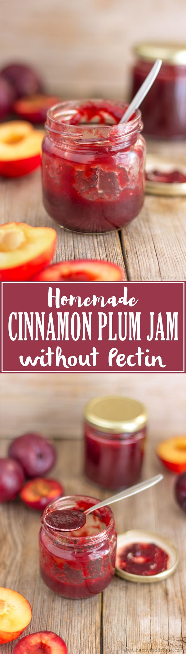 Homemade Low Sugar Cinnamon Plum Jam. Super Easy and Healthy Jam Recipe Without Pectin. Only 3 Ingredients! | happyfoodstube.com