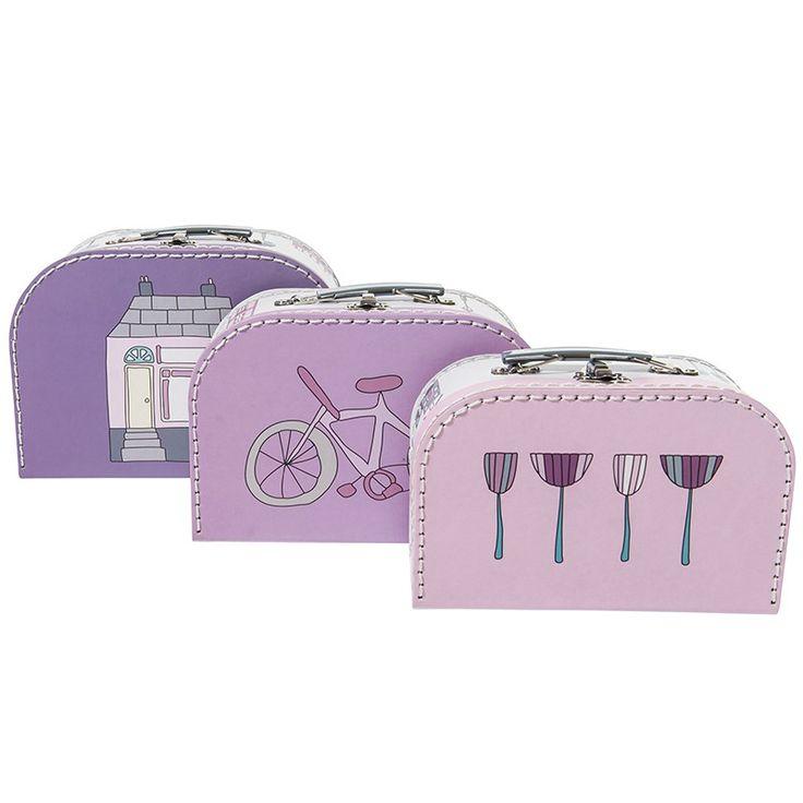 """Spielzeugkoffer, hübsches Koffer 3er-Set """"Village Girl"""", aus stabilem Karton, von sebra"""