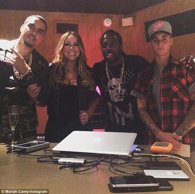 'Coming soon'; Mariah Carey teased new music on Friday when she posted a picture to Instagram as she teamed up with Justin Bieber, French Montana and producer Details in a recording studio