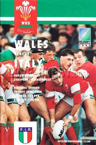#rugby today 12/10 in 1994 : Wales 29-19 Italy - rugby tour programme in Cardiff