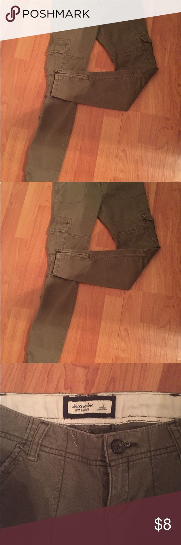 Abercrombie girls size 12 Abercrombie girls green pants cute stretch zipper on bottom of pants abercrombie kids Bottoms Casual