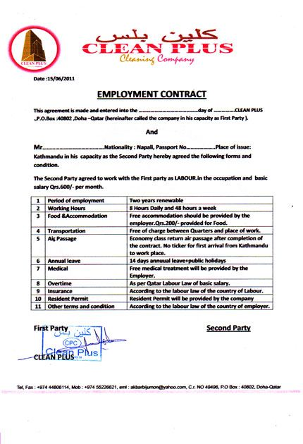 employee contract letter samples