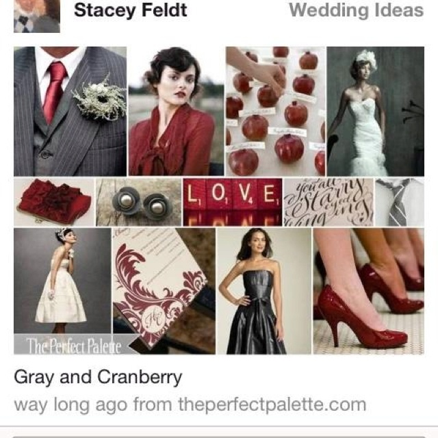 Cranberry And Gray Wedding Colors