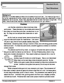 PASSAGES TO TEACH COMMON CORE TEXT STRUCTURE RI.5 (Grade 4) This document includes topical practice for reviewing Common Core Standard RI.5.  Four passages are included.  The questions are written in a variety of formats to assist students in mastering this standard.  Historical and scientific texts are included.  The passages are thematic so they are excellent for integrating reading, science, and social studies instruction while you teach the Common Core.
