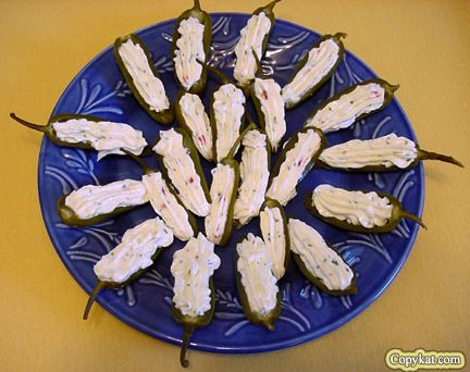 Just like Luby's: With cream cheese, dehydrated chives, pimiento peppers, and mayonnaise. | 31 Fearless Ways To Stuff A Jalapeño Chile