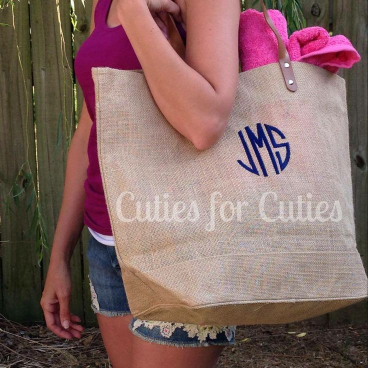 Monogram beach tote bridal party wedding sorority gift click here to join Cuties on FB www.facebook.com/cutiesforcuties  $23