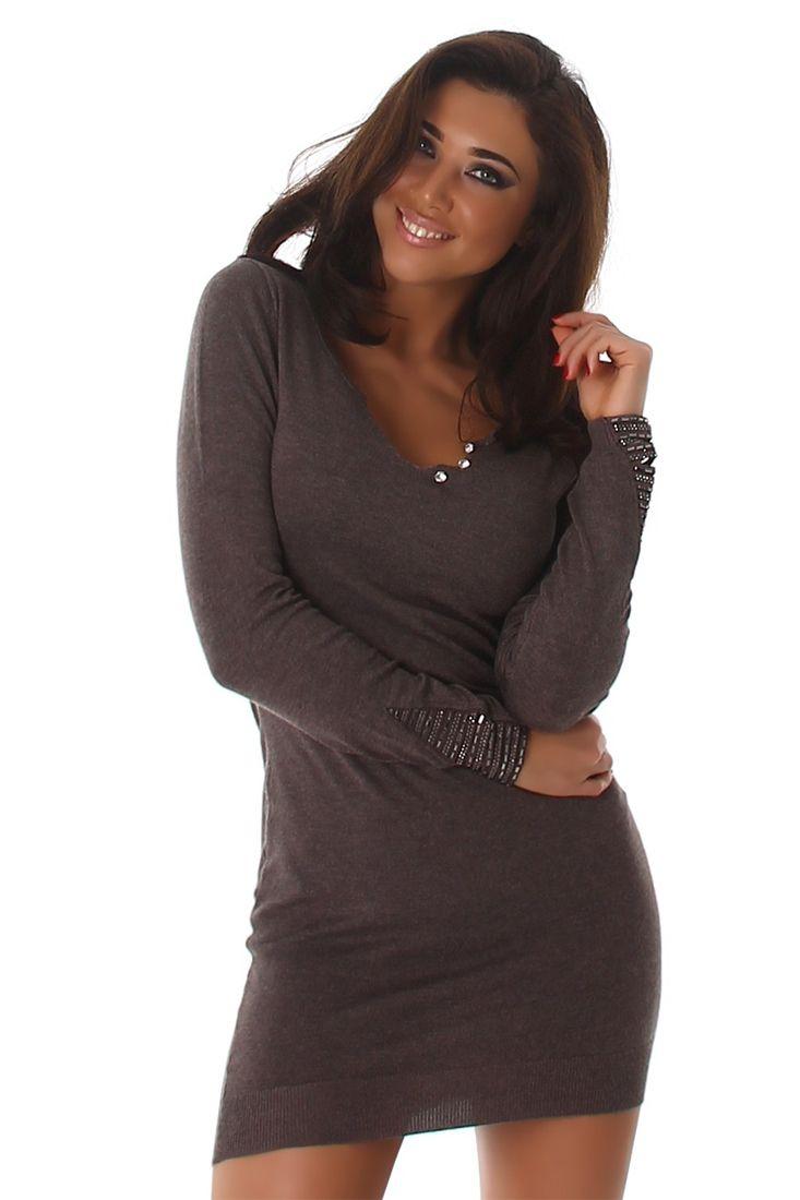 Knitted Trim Long Sleeve Short Dress - Shop Ladies Club Wear Online.