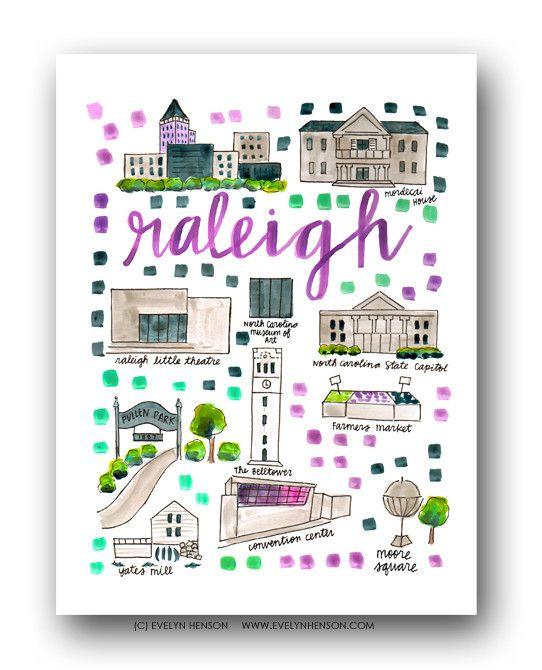 Raleigh, NC Map Print