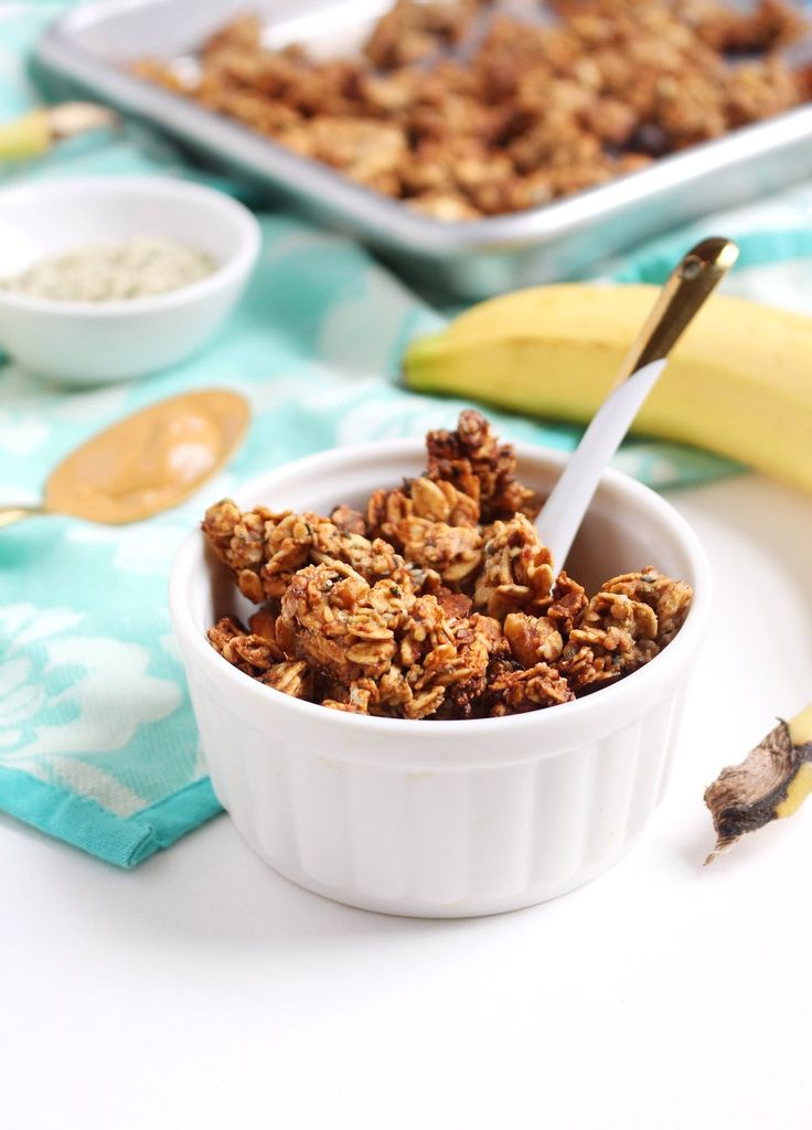 """You guys, this granola is good. It's definitely the tastiest granola I've  ever made. I'm so excited to tell you about it!  Just look at those clusters! Now that's what I'm talking about. This is my  favorite type of granola...nutty with extra large clusters.  I forgot about granola for a long time. I know, I know, what kind of  plant-based eater am I if I """"forgot"""" about granola?! Sorry granola, I'll  never forget about you again. Especially this granola. Scott and I have  been gobbling it…"""