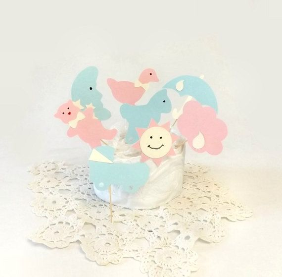 Baby Shower Cupcake Toppers Boy Blue or Girl by AlteredEcoDesigns