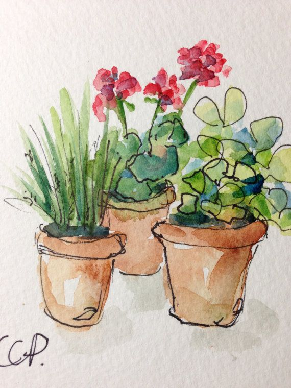 Potted Blooms Watercolor Card by gardenblooms on Etsy - again good for fabric applique