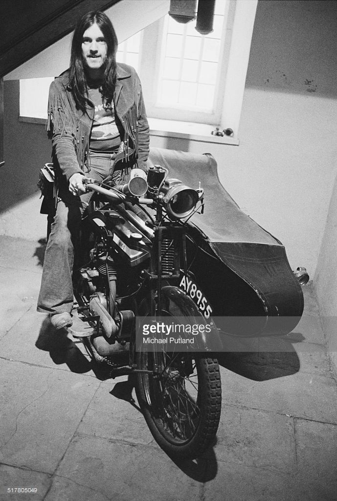 English bassist and singer Ian 'Lemmy' Kilmister, of space rock group Hawkwind, sitting on a BSA motorcycle and sidecar combination, 10th May1974.