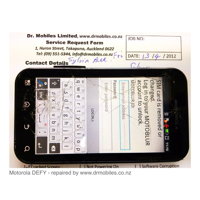Motorola DEFY Android phone with broken screen, repaired by www - service request form
